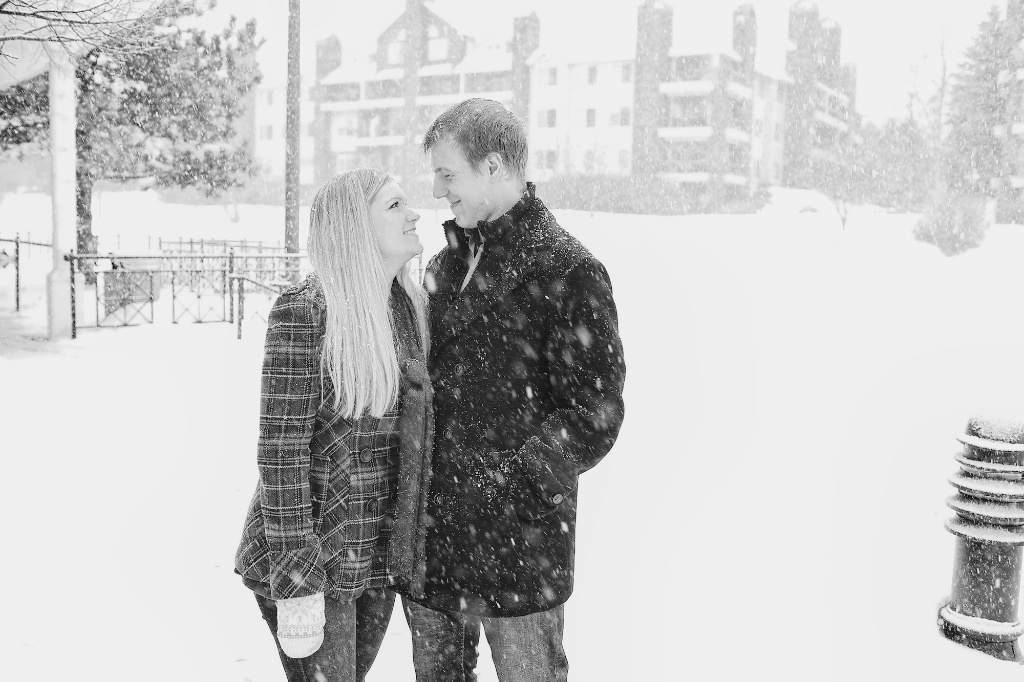 winter ice skating engagement photos
