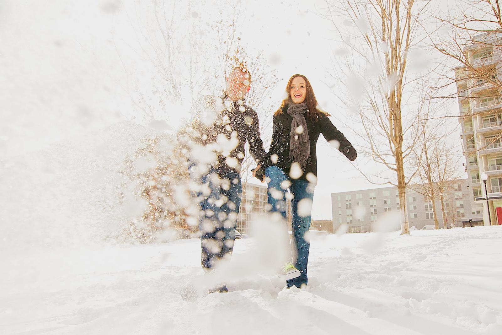 Unique Winter Engagement Photos Stone Arch Brid...