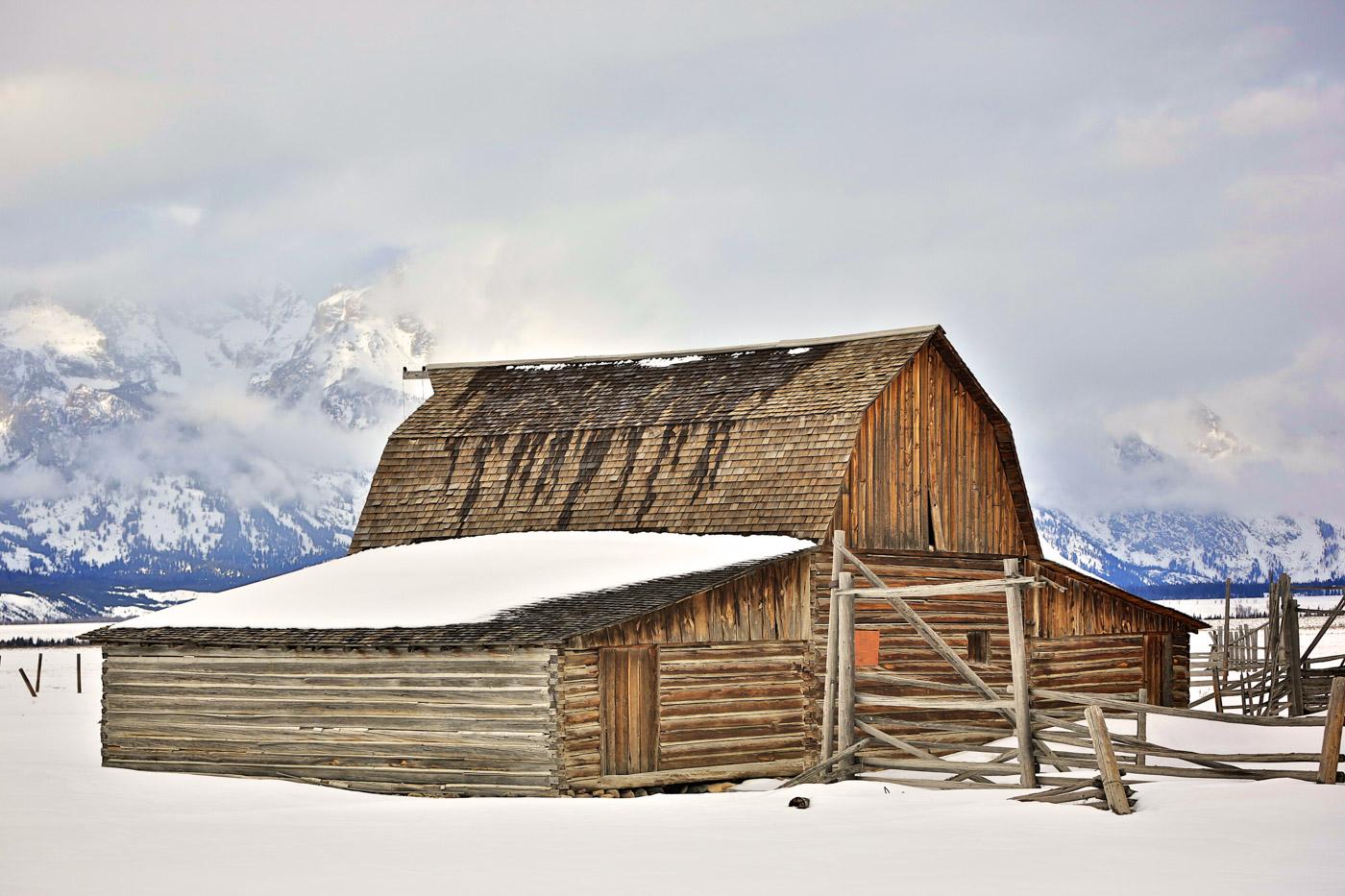 Mormon Row Barn Winter Photo