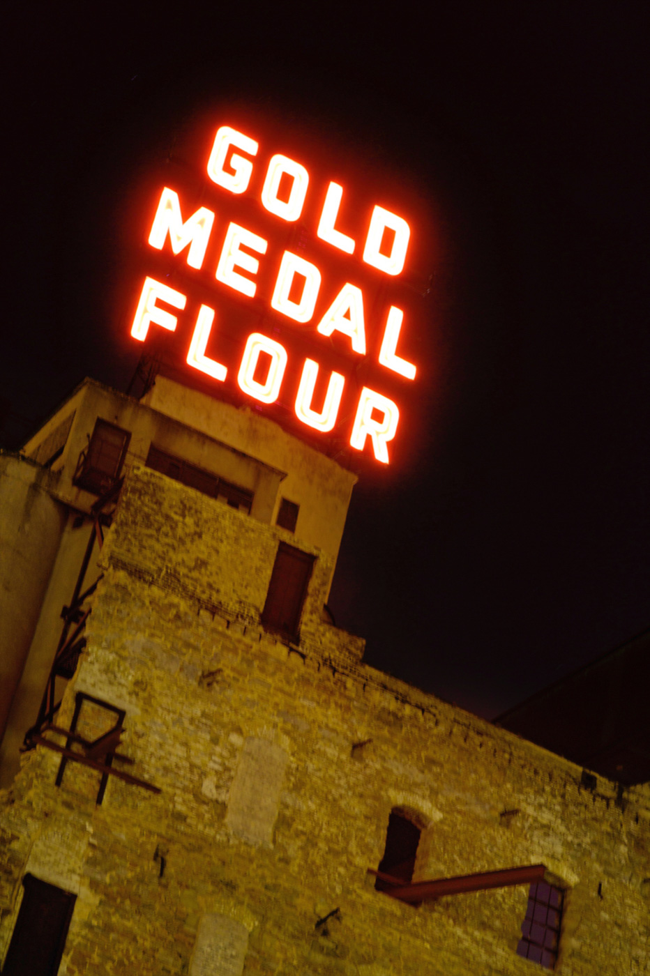 Minneapolis Gold Medal Flour Sign at Night