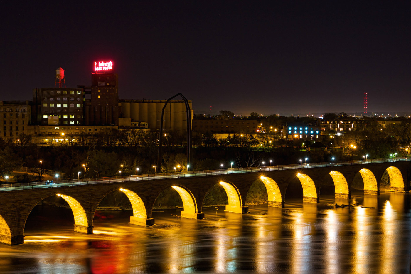 Minneapolis Stone Arch Bridge Night Photo