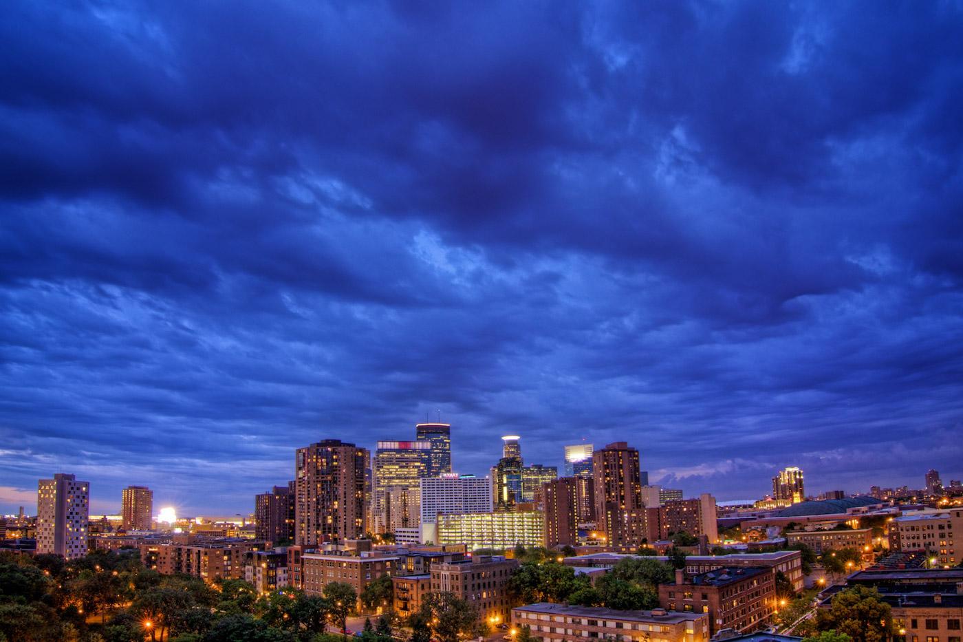 Minneapolis Skyline Dusk Photo